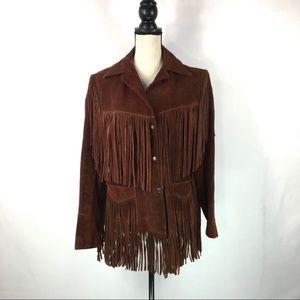 Vintage JOO-KAY Fringe Leather Jacket Sz 14
